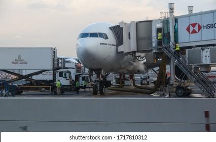 DUBAI, UAE - 20 NOVEMBER 2019: Airport service in Dubai airport. Dubai International Airport is an international airport serving Dubai.