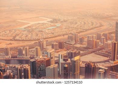 DUBAI, UAE, 20 September 2018. Views of the Modern City of Dubai, Urban cityscape landscape.