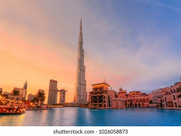 Dubai, UAE - 2014 - Burj Khalifa and souk al bahar taken at the golden hour - sunset.