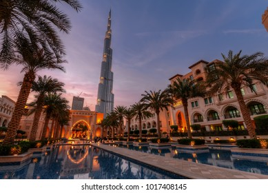 Dubai, UAE - 2018 - Burj Khalifa in the background while in the foreground is Souk Al Bahar located at heikh Mohammed bin Rashid Blvd, downtown of Dubai.