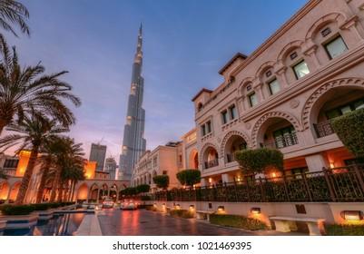 Dubai, UAE - 2018 - Burj Khalifa and souk al bahar.