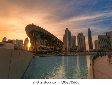 Dubai, UAE - 2018 - Dusk time at Dubai Opera which is a 2K seats, multi format, performing arts centre located at The Opera District, Downtown Dubai. It was developed by Emaar Properties.