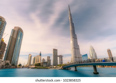 Dubai, UAE - 2018 - Dubai Opera, Burj Khalifa in a beautiful scenery of dubai cityscape