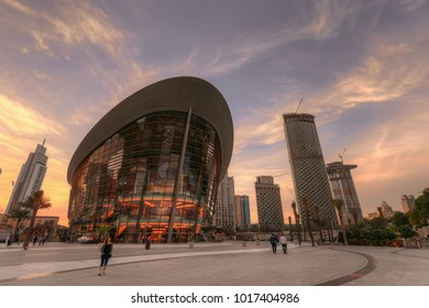 Dubai, UAE - 2018 - Dubai Opera at the dusk time.