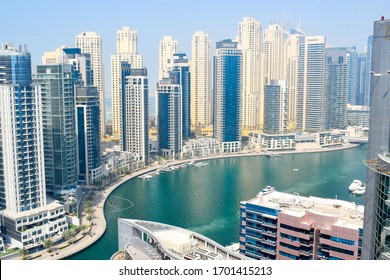 Dubai ,UAE 2020 : High rise building and modern infrastructure of UAE in Dubai Marina. UAE is known for its world class infrastructure and huge investment in real estate