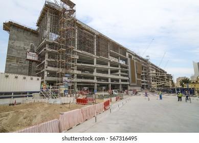 DUBAI, UAE.  22.1.2017.  The Dubai Mall extension reaches out into the Zabeel area of Dubai.