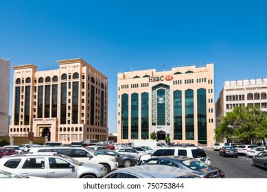 DUBAI, UAE - 26OCT2017: HSBC Bur Dubai Branch is the principal branch in the UAE and is located next to the Dubai Ministry of Finance.