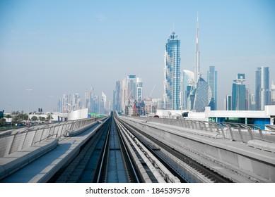 DUBAI, UAE -  3 MARCH, 2014: Dubai Metro as world's longest fully automated metro network (75 km). March  3, 2014 Dubai, UAE.