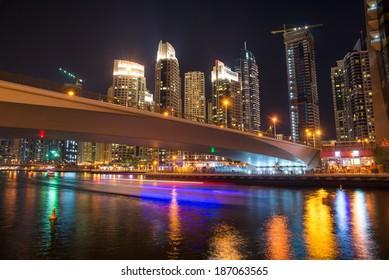 DUBAI, UAE - 3 MARCH, 2014: Modern skyscrapers in Dubai Marina, this is the most respectable area in Dubai. March 3, 2014 Dubai, UAE.