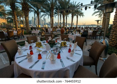 DUBAI, UAE - 31 December 2015: Preparations for New Year's dinner in the hotelFairmont The Palm.