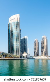 DUBAI, UAE - 31OCT2017: The Emaar built Park Island Complex (left) and the two towers of Grosvenor House (centre) Dubai Marina.
