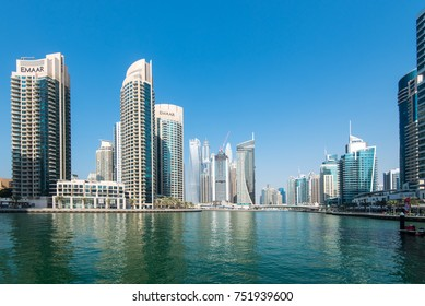 DUBAI, UAE - 31OCT2017: The Park Island Development(left) is a four tower condominium complex in Dubai Marina, developed by Emaar.