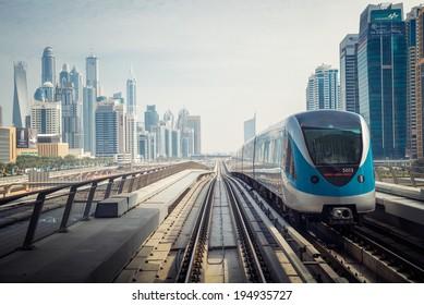 DUBAI, UAE -  4  MARCH, 2014: Dubai Metro as world's longest fully automated metro network (75 km). March  4, 2014 Dubai, UAE.