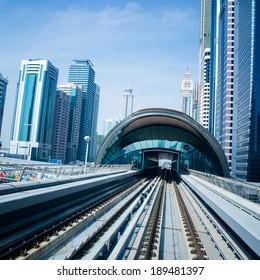 DUBAI, UAE -  5 MARCH, 2014: Dubai Metro as world's longest fully automated metro network (75 km). March  5, 2014 Dubai, UAE.