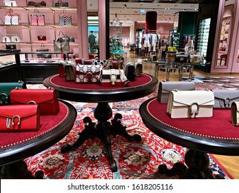 dubai - uae , 9 - 1 - 2020 : luxury brand Gucci store at Fashion Avenue emirates mall at dubai .Gucci bags and Fashion