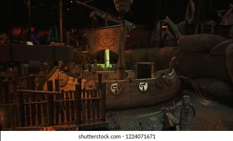 Dubai, UAE - April 01, 2018: Territory of the amusement Dragon in DreamWorks in Motiongate at Dubai Parks and Resorts