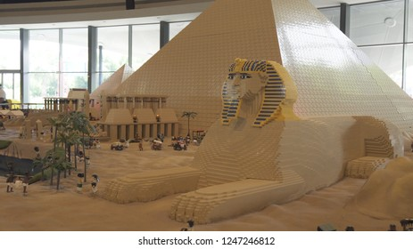Dubai, UAE - April 01, 2018: Exhibition of mock-ups of Egypt made of Lego pieces in Miniland Legoland at Dubai Parks and Resorts