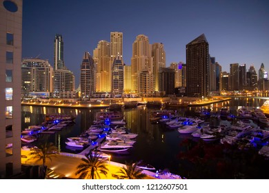 Dubai, UAE - April 02, 2018: Luxurious area of Dubai Marina at dawn