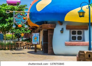 Dubai, Dubai, UAE - April 05, 2019 - Smurfs Village in Motiongate Dubai, Dubai Parks And Resorts