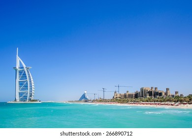 DUBAI, UAE - APRIL 05: The grand sail shaped Burj al Arab Hotel taken April 5, 2015 in Dubai. The hotel is classed as one of the most luxurious in the world and is located on a man made island.