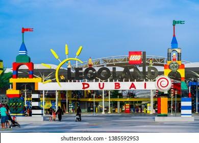 Dubai, Dubai, UAE - April 06, 2019 - entrance to Legoland Dubai, Dubai Parks And Resorts