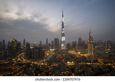 Dubai, UAE - April 07, 2018: Night illumination on the Burj Khalifa in Dubai