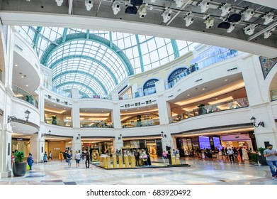DUBAI, UAE - APRIL 07: Mall of the Emirates interior April 07, 2017 in Dubai, United Arab Emirates. Mall of the Emirates is a shopping mall in the Al Barsha district of Dubai.