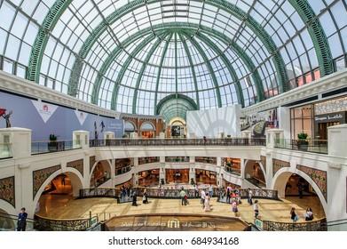 DUBAI, UAE - APRIL 07: Mall of the Emirates interior April 07, 2017 in Dubai, United Arab Emirates. Mall of the Emirates is a shopping mall in the Al Barsha district of Dubai.