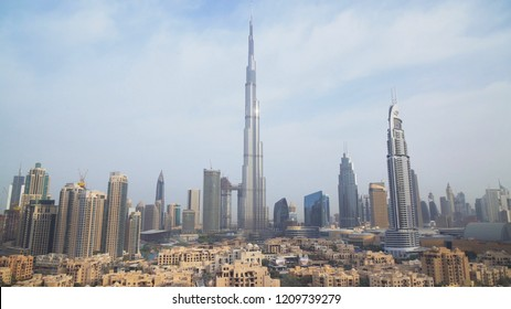 Dubai, UAE - April 08, 2018: Burj Khalifa and Downtown Dubai at dawn