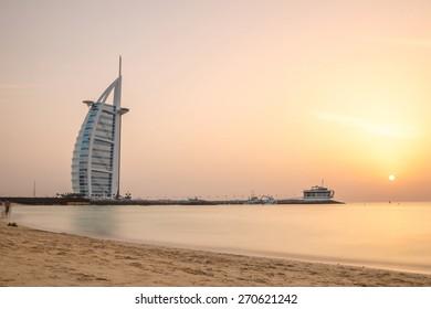 DUBAI, UAE - APRIL 1, 2015 : Burj Al Arab, One of the most famous landmark of United Arab Emirates. Picture taken during sunset on April 1, 2015.