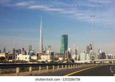 Dubai, UAE - April 1, 2019: Dubai downtown skyscrapers.