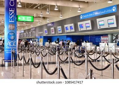 Dubai, UAE - April 10. 2018. view of front desk at airport