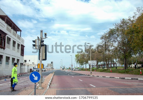 Dubai, UAE. April 15, 2020. During the lockdown imposed to fight the spread of COVID-19. Municipal workers keep the streets clean and the parks and the beaches closed