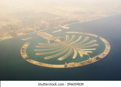Dubai, UAE -  April 2. 2014: Top view on the most expensive island Palm Jumeirah in Dubai, UAE