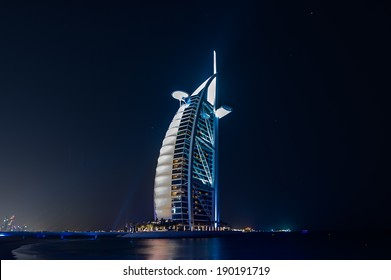 DUBAI, UAE - APRIL 20: Burj Al Arab, built on an artificial island  on Jumeirah beach and classed as one of the most luxurious in the world, on April 20, 2014
