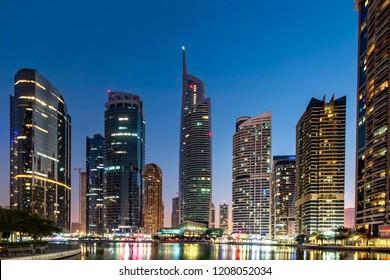 DUBAI, UAE - APRIL, 2018: Jumeirah Lake Towers area in Dubai. Office and residential area.