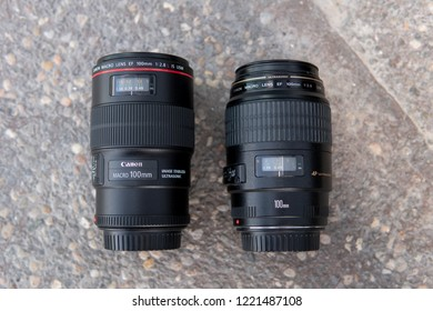 Dubai, UAE - April 2018: A picture taken in my studio for Canon EF 100mm f/2.8L Macro IS USM Lens and Canon EF 100mm f/2.8 Macro USM Lens