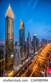 DUBAI, UAE - APRIL, 2018: Tallest hotel in the world, Gevora. Sheikh zayed road. Luxury travel.