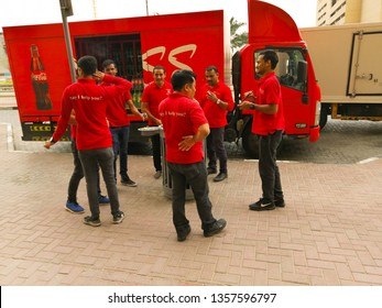 Dubai, uae - April 2,2019 : a cocacola delivery truck parked for delivering drinks in dubai marina.