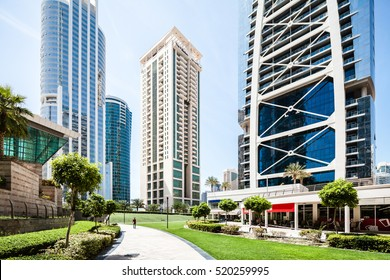 DUBAI, UAE - APRIL 26, 2016: Jumeirah Lake Towers residential district near Dubai Marina