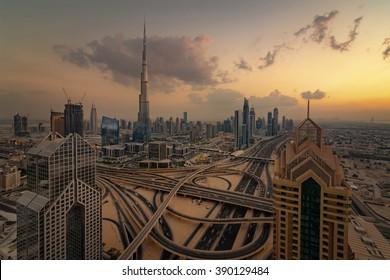 Dubai, UAE, April 28 2013, Dubai Golden Sunset