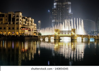DUBAI, UAE. - APRIL 29 : Dubai fountain show on April 29, 2013 in Dubai, UAE. The Dubai Fountain is the worlds largest choreographed fountain system set on the 30-acre manmade Burj Khalifa Lake.