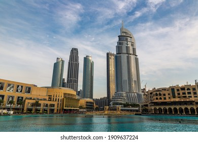 DUBAI, UAE - APRIL 5, 2020: Address Downtown hotel in Dubai at sunset, United Arab Emirates