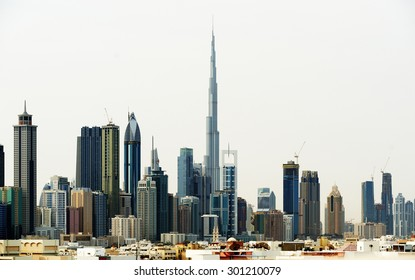 Dubai, UAE, April 6 2012. Dubai World Trade center and Burj Khalifa.