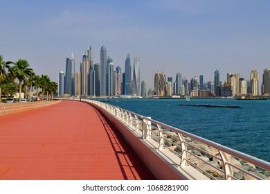 Dubai, UAE - April 8. 2018. Dubai Marina is a famous fashionable area and marina