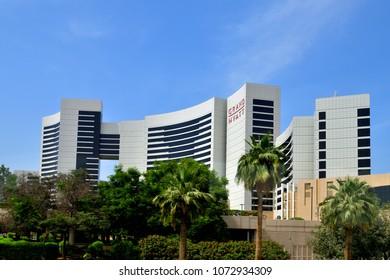 Dubai, UAE - April 8. 2018. View of hotel Grand Hyatt.