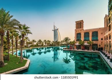Dubai / UAE - August 01 2018 - Madinat Jumeirah and Burj Al Arab