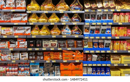 Dubai, UAE- AUGUST 15, 2019 Chocolate Sweets For Sale On Supermarket Shelf. kitkat, Nestle, Dairy milk  Chocolate