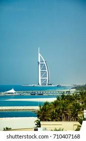 DUBAI, UAE - AUGUST 19, 2017: A view of Jumeirah beach and luxury hotel Burj al Arab on August 2017 in Dubai, United Arab Emirates