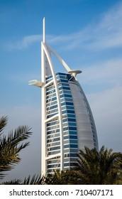 DUBAI, UAE - AUGUST 19, 2017: Hotel Burj al Arab against the background of the blue sky, side view on August 2017 in Dubai, United Arab Emirates